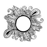 Circle frame with floral ornament Royalty Free Stock Image