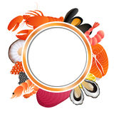 Circle frame food background fish mussel shrimp oyster salmon lobster tuna caviar scallop Stock Photography