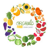 Circle frame with fruit and vegetable icons stock illustration