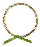 Circle frame from gold chainlet Stock Photos