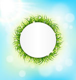 Circle frame with green grass, chamomiles and sunlight on sky. Background Stock Photography
