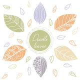 Circle frame with hand drawing  leaves in beige background. Green doodle circle frame with hand drawing  leaves in beige background with Doodle leaves around Royalty Free Stock Photography