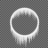 Circle frame icicles. Transparent background. Vector illustration icicle set. Frozen cartoon melted snow. Set icicle Stock Photo