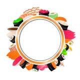 Circle frame Japanese food sushi background illustration. Vector Stock Image