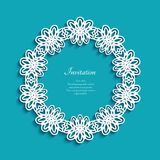 Circle frame with cutout lace border pattern. Circle frame with lace border pattern, cutout paper ornament, round decoration for laser cutting or wood Royalty Free Stock Image