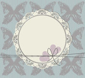 Circle frame with lace ornament. Stylish circle frame with lace ornament,  butterfly and two hearts Royalty Free Stock Image