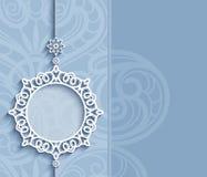 Circle frame, lace pendant on blue background. Elegant lace decoration, lacy pendant on ornamental blue background, circle frame, mandala, greeting card, wedding vector illustration