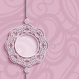 Circle frame, lace pendant on pink background. Elegant lace decoration, lacy pendant on ornamental pink background, circle frame, mandala, greeting card, wedding vector illustration