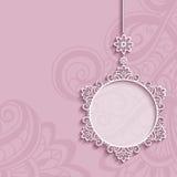 Circle frame, lace pendant on pink background. Elegant lace decoration, lacy pendant on ornamental pink background, circle frame, mandala, greeting card, wedding stock illustration