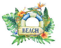 Circle frame with lifebuoy, flowers and tropical plants. Hand drawn watercolor painting on white background Royalty Free Stock Image