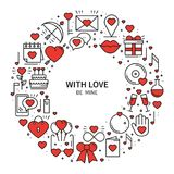 Circle frame with love symbols in line style. Love couple relationship dating wedding romantic amour concept theme. Unique Valentine day round print. Elements Royalty Free Stock Images