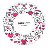 Circle frame with love symbols in line style. Love couple relationship dating wedding romantic amour concept theme. Unique Valentine day round print. Elements Stock Photo