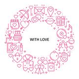 Circle frame with love symbols in line style. Love couple relationship dating wedding romantic amour concept theme. Unique Valentine day round print. Elements Stock Photos