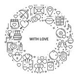 Circle frame with love symbols in line style. Love couple relationship dating wedding romantic amour concept theme. Unique Valentine day round print. Elements Stock Image