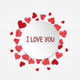 Circle frame made of hearts Royalty Free Stock Photos