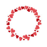Circle frame made of hearts Stock Photo