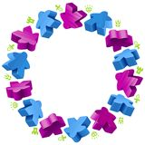 Circle frame of meeples Royalty Free Stock Images