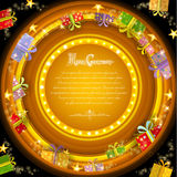 Circle frame on orange christmas tunnel background with golden stars and present boxes. Yellow circle frame on orange christmas tunnel background with golden stock illustration