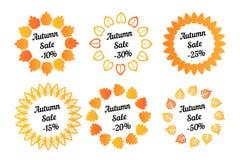 Circle frame of orange leaves isolated on white background. ECO autumn shopping sale. Nature set. Shop design Stock Photography