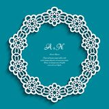 Circle frame with cutout lace border pattern. Circle frame with ornamental border, lace doily, cutout paper round pattern, elegant template for laser cutting or Royalty Free Stock Image