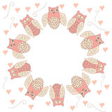 Circle frame with owl and heart. Circle design with pastel hand drawn cute owls and hearts. Love design. Child card  for birthday. Vector illustration for baby Royalty Free Stock Photo