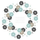 Circle frame with pastel flowers and leaves  on white ba Stock Photography