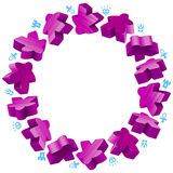 Circle frame of purple meeples Royalty Free Stock Photography