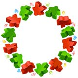 Circle frame of red and green meeples Royalty Free Stock Photos