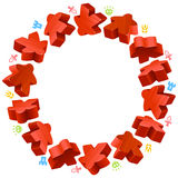 Circle frame of red meeples Royalty Free Stock Photo