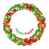 Circle frame, red, yellow, green apple cartoon. Vector eps10. royalty free illustration