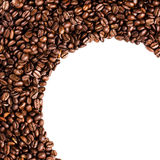 Circle frame of roasted coffee beans isolated on white may use a Royalty Free Stock Photography