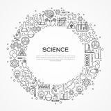 Circle Frame with Scientific Line Icons Royalty Free Stock Images