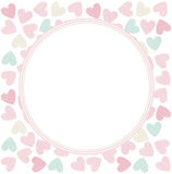 Circle frame with stylish hearts. Decorative Frame with elegant hearts and tender colors. Vector frame for greeting card, invitation, posters Royalty Free Stock Images