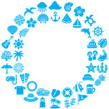 Circle frame with summer icons. stock illustration
