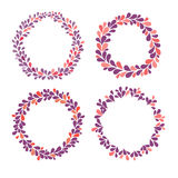 Circle frame vector collection, purple, pink and red colors. Hand drawn ornamental round frames. Isolated wreath set on white background Royalty Free Stock Photos