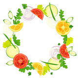 Circle frame of vegetables. With watercolor painting textures Royalty Free Stock Image