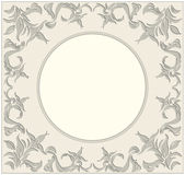 Circle frame with vintage ornaments and floral elements. 