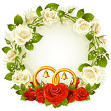 Circle frame with white and red rose and golden we Royalty Free Stock Images