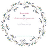 Circle frame, wreath of the blue and green pastel branches, hand drawn in a watercolor on a white background. Greeting card, decoration postcard or invitation Royalty Free Stock Photography