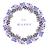 Circle frame, wreath of blue, violet and purple bunches of berries. Painted in watercolor on a white background, greeting card, decoration postcard or Royalty Free Stock Photos