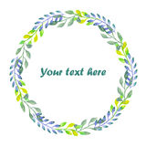 Circle frame, wreath of branches with green, blue and lemon leaves Royalty Free Stock Photo