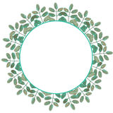 Circle frame, wreath of branches with green leaves. Painted in watercolor on a white background, greeting card, decoration postcard or invitation Royalty Free Illustration