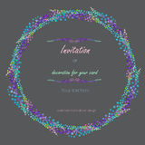 Circle frame, wreath with the floral design; watercolor abstract variegated mimosa flowers and leaves Stock Photos