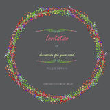 Circle frame, wreath with the floral design; watercolor abstract variegated mimosa flowers and leaves Royalty Free Stock Image