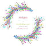 Circle frame, wreath with the floral design; watercolor abstract variegated mimosa flowers and leaves Royalty Free Stock Photography
