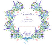 Circle frame, wreath with the floral design; watercolor elements of the lavender, cornflower, forget-me-not and eustoma flowers Royalty Free Stock Image