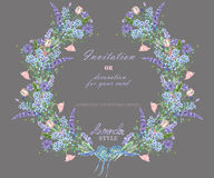 Circle frame, wreath with the floral design; watercolor elements of the lavender, cornflower, forget-me-not and eustoma flowers Royalty Free Stock Images