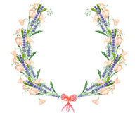 Circle frame, wreath with the floral design; watercolor floral elements of the lavender, wildflowers and eustoma flowers Stock Photos