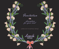 Circle frame, wreath with the floral design; watercolor floral elements of the lavender, wildflowers and eustoma flowers Royalty Free Stock Photography