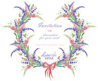 Circle frame, wreath with the floral design; watercolor floral elements of the lavender, wildflowers and lupine flowers Stock Image
